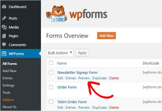 iContact Signup Form preview option