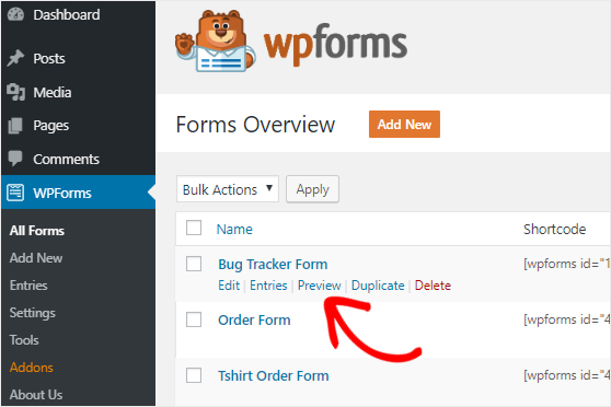 Preview Bug Tracker form create jira issues