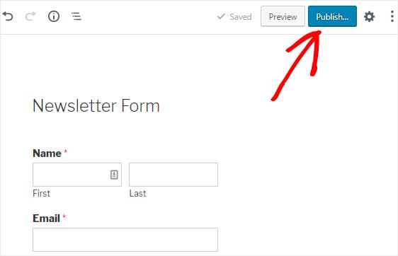 Publish newsletter signup form
