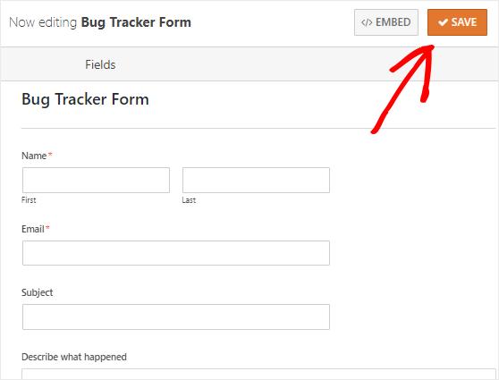 Save Bug Tracker form