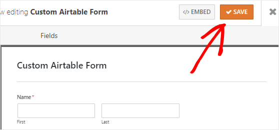 Save Custom Airtable form