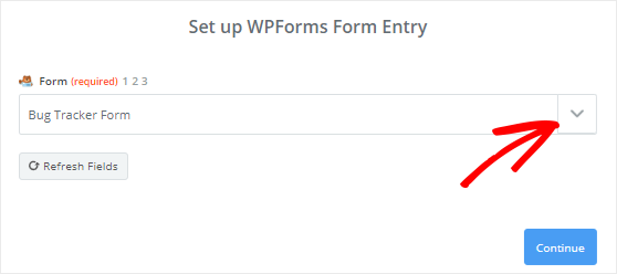Select Bug Tracker form from dropdown menu