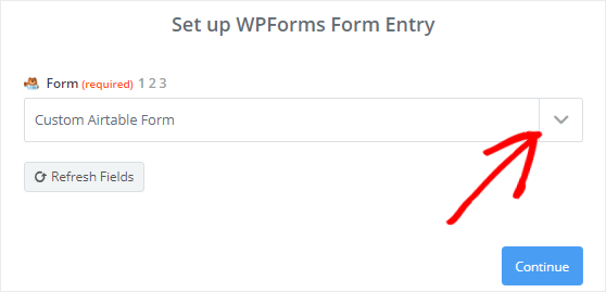 Select Custom Airtable Form from dropdown menu