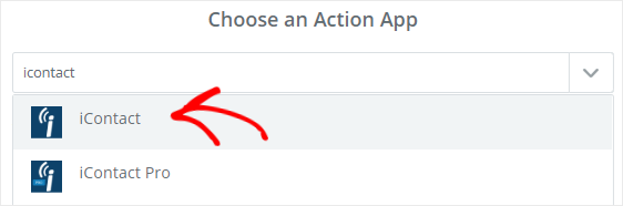 Select iContact from Choose Action App search box