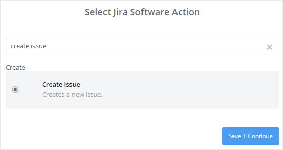 Select Jira Software action
