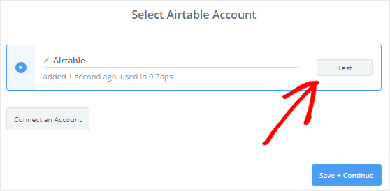 Test connection between Zapier and Airtable