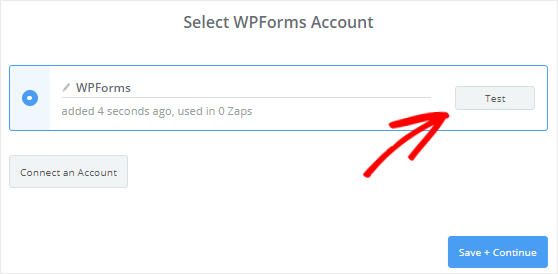 Test Connection between Zapier and WPForms