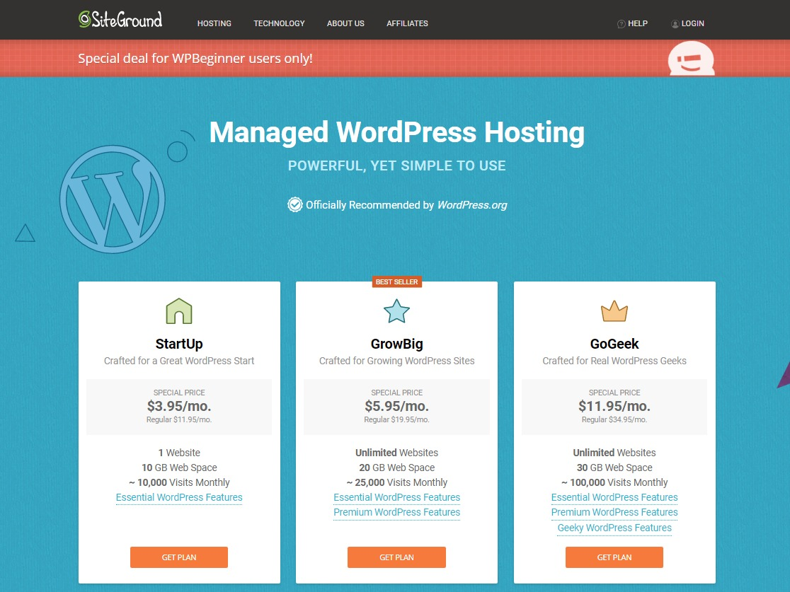 wordpress hosting comparison siteground best wordpress hosting