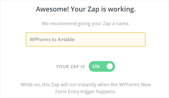 WPForms to Airtable zap