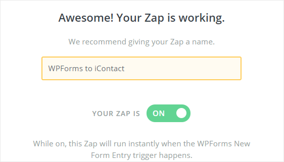 WPForms to iContact zap