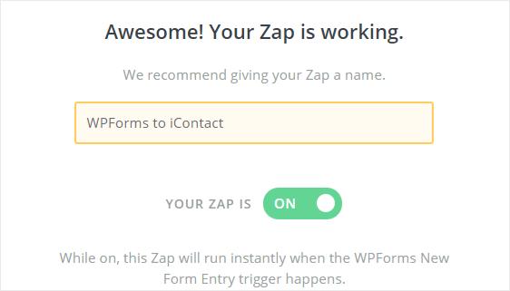 WPForms to iContact zap