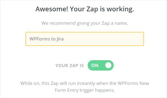 WPForms to Jira zap