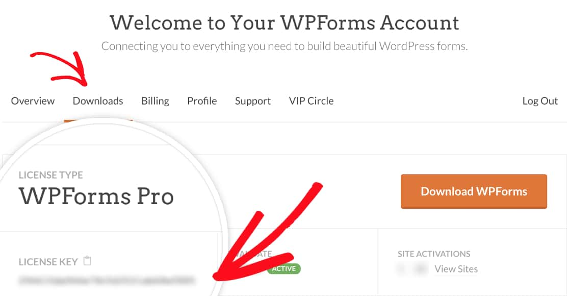 Copy WPForms license key from account