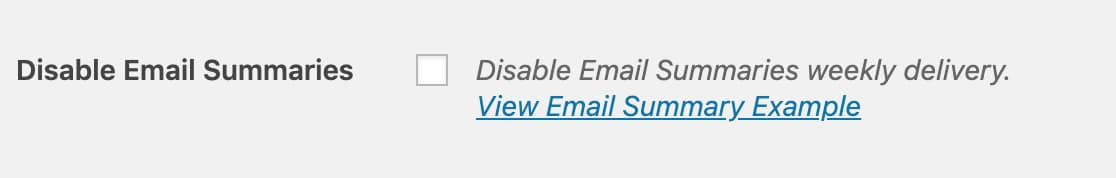 Disable Email Summaries