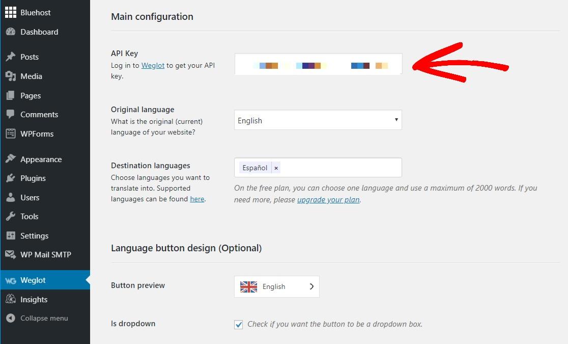 add api key weglot multilingual plugin