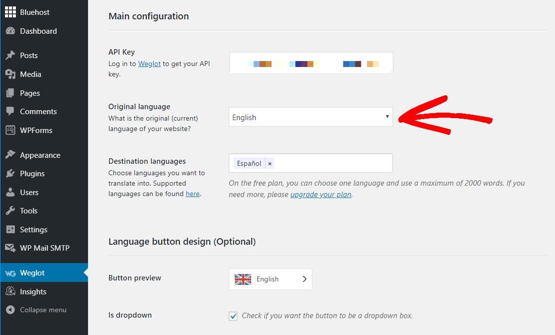 select original language of website