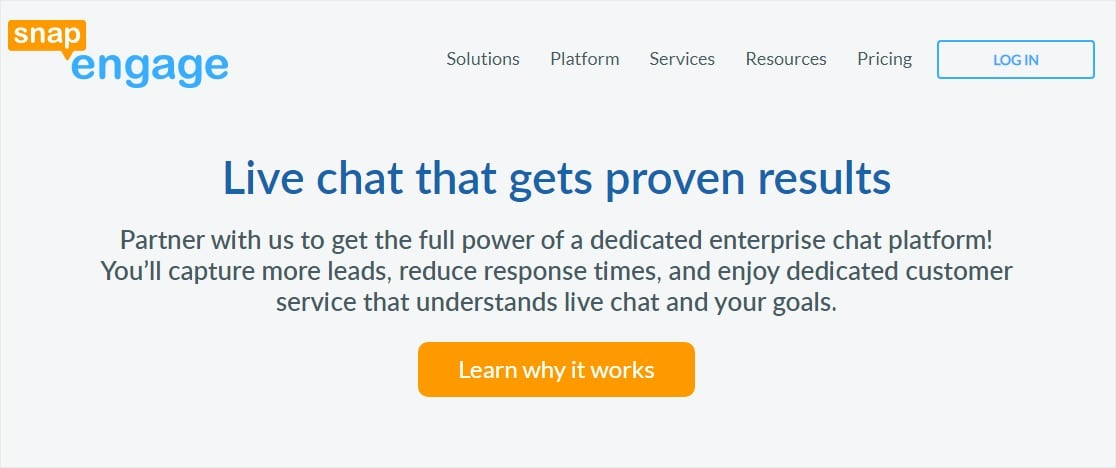 snapengage customer service website chat