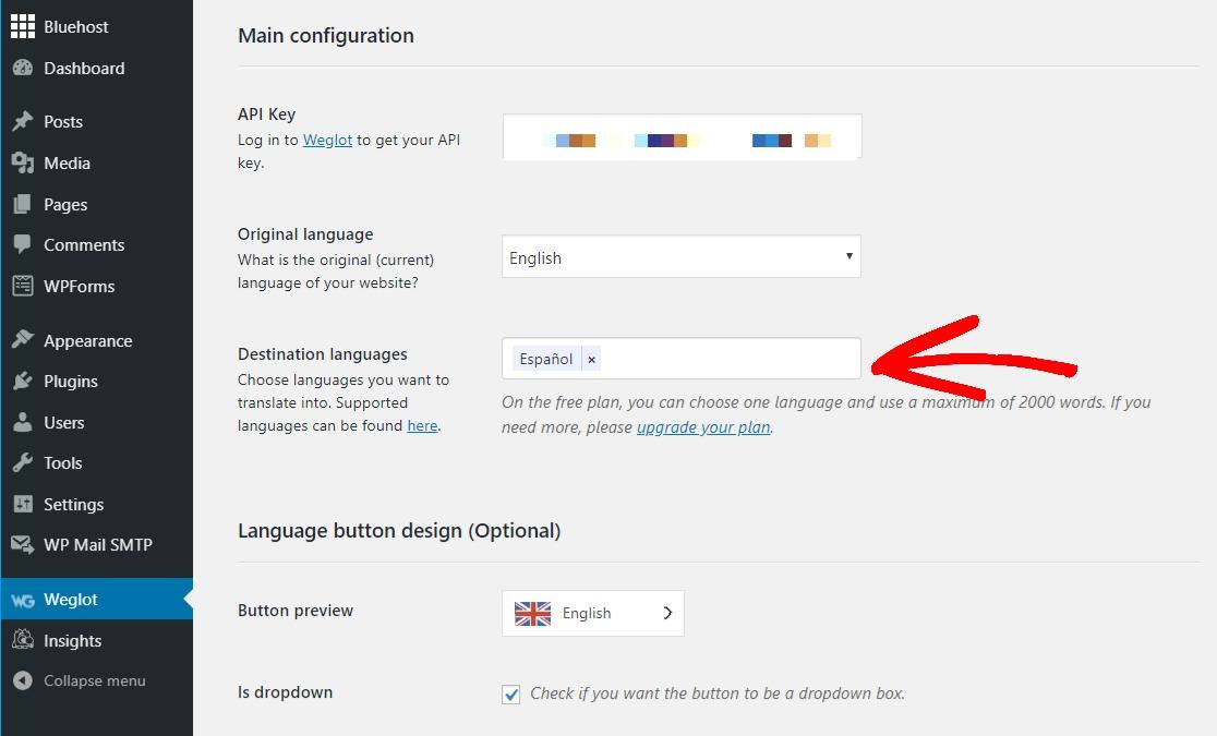 weglot multilingual plugin select destination language