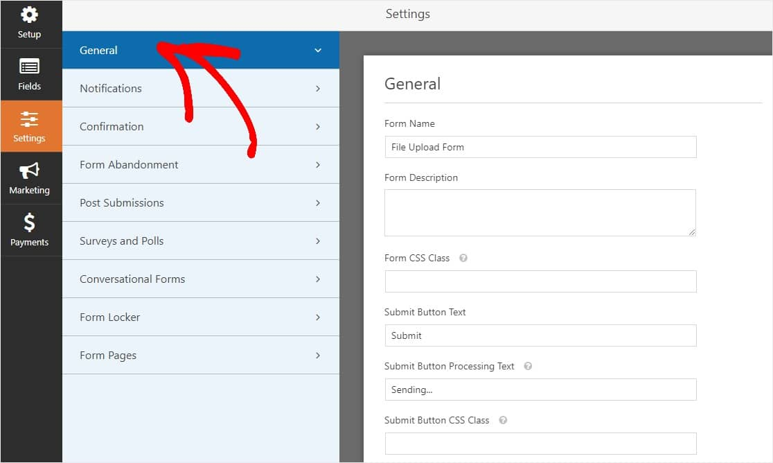 File Upload Form General Settings configurations