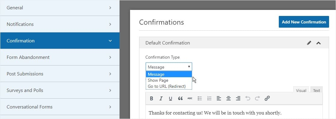 Form Confirmation Type settings multi step form