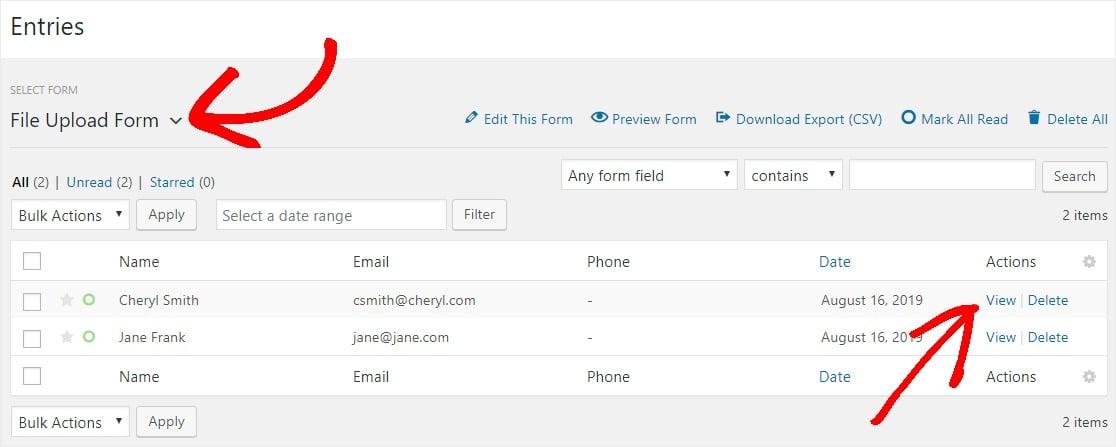 WPForms - visualizzare i file caricati tramite il modulo in una pagina o post WordPress