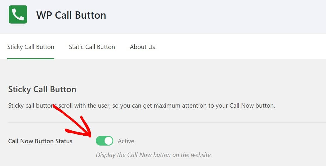 display call now button on