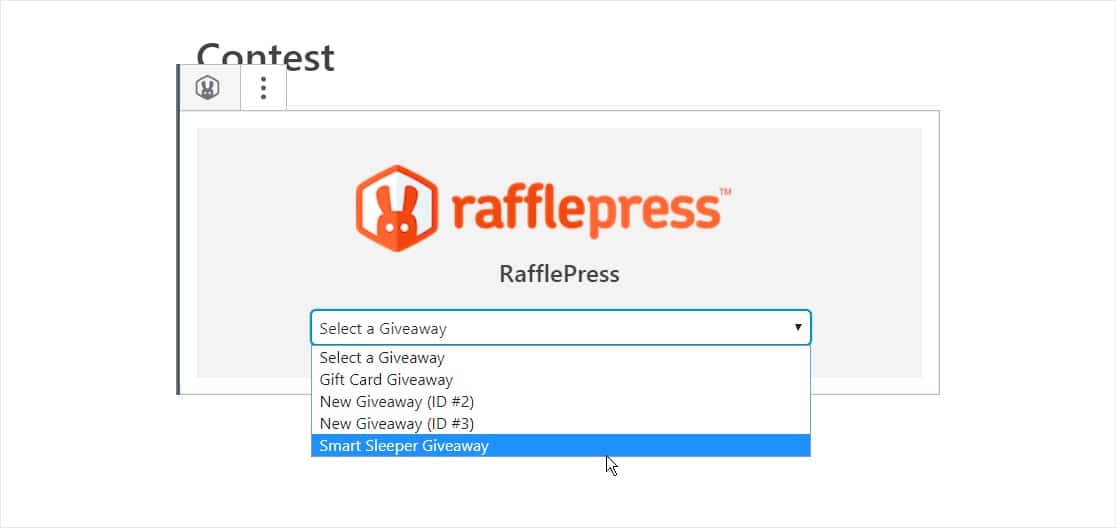 embed your giveaway to your wordpress page