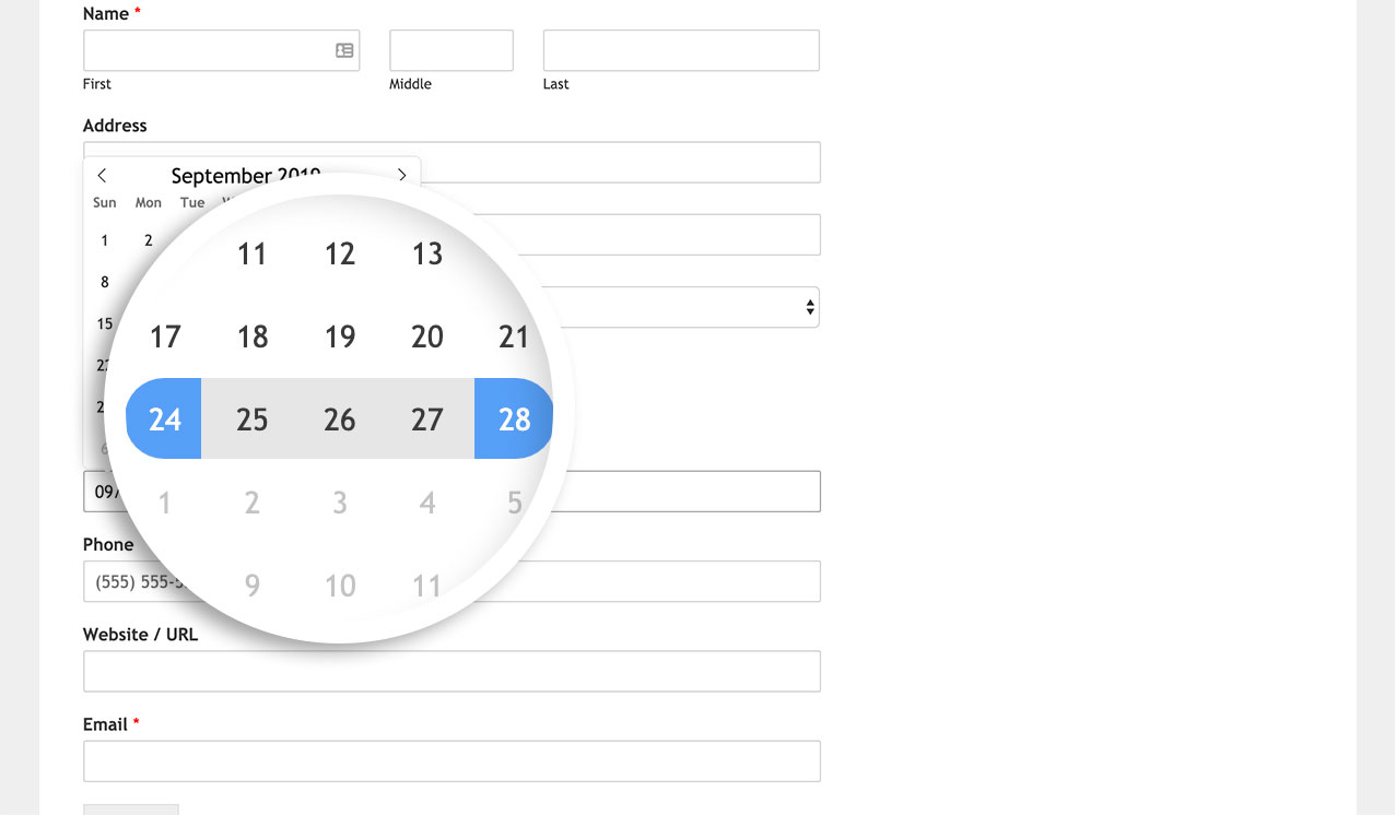 Your user can select a date range from the date picker