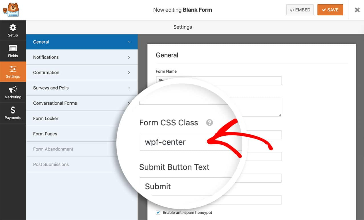 Add CSS class for centering form