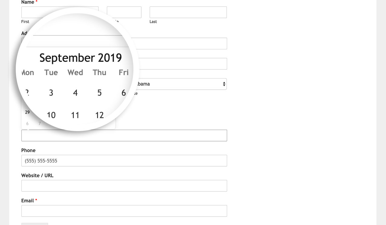 This is how the date field date picker looks by default
