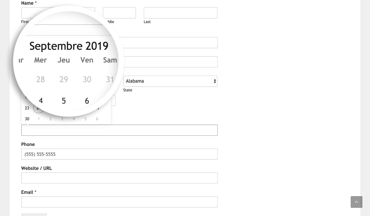 This is how the date picker now looks since we've changed our language