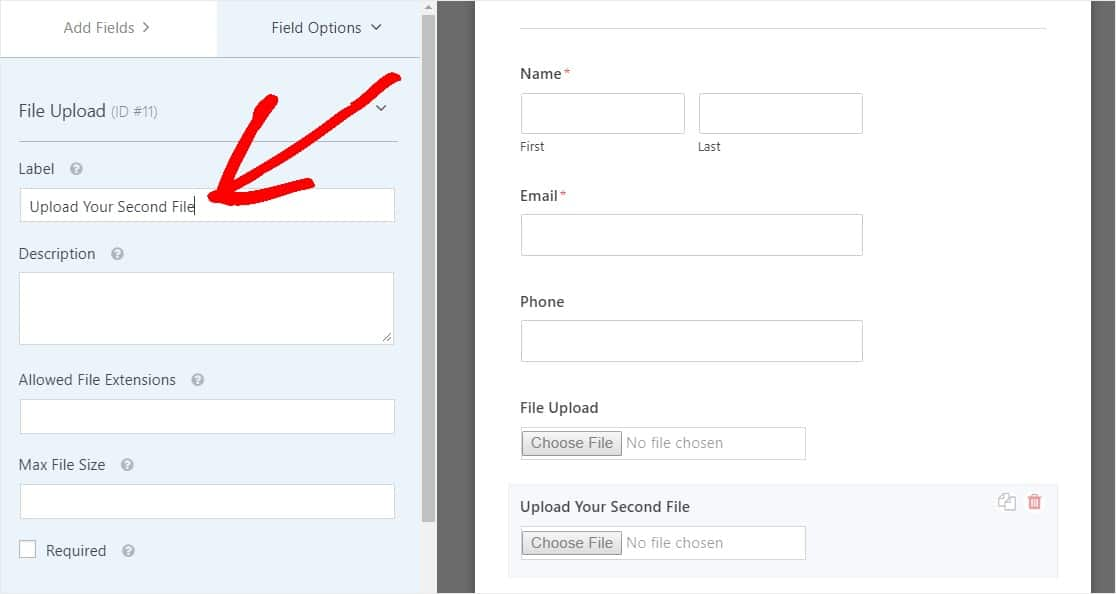 rename your multiple upload fields label