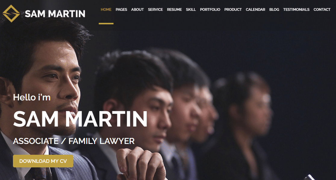 sam martin business card wordpress theme