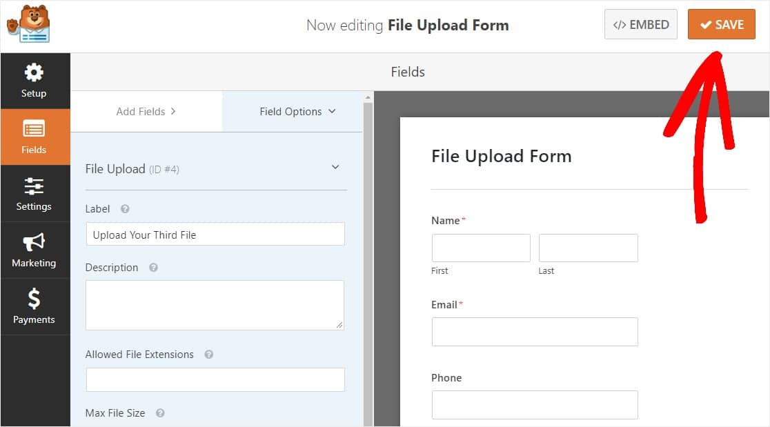 save your multiple file upload form