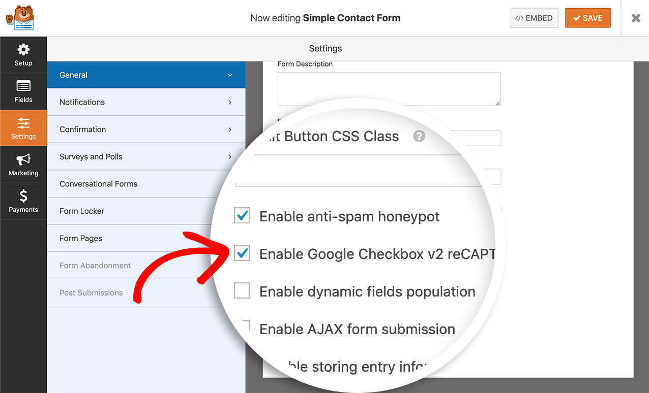 Enable Google reCAPTCHA on your form under the General tab of your form settings
