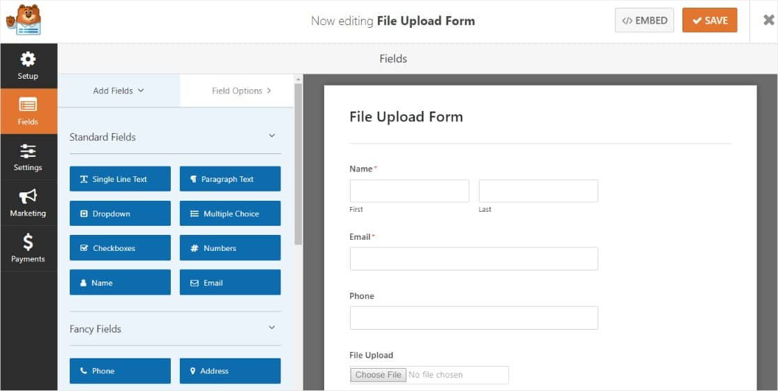 simple form with file upload field