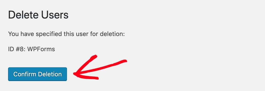 Confirm WordPress user deletion