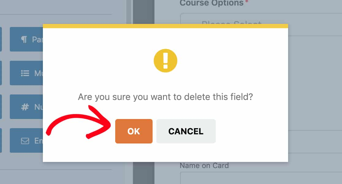 Confirm field deletion