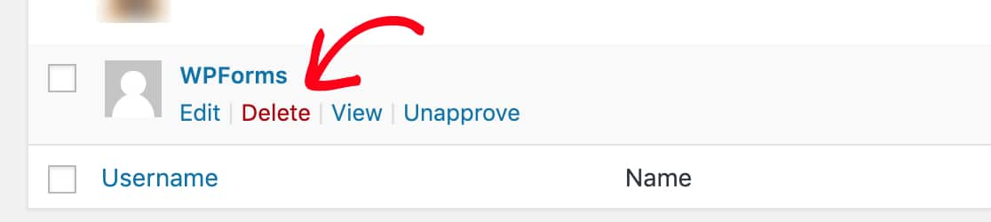 Delete WordPress user