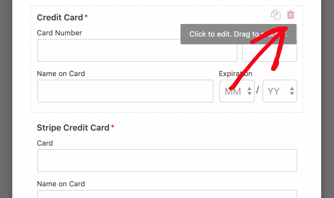 Delete old Credit Card field