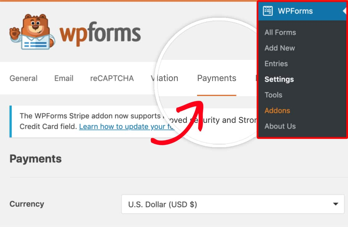 Open payment settings in WPForms