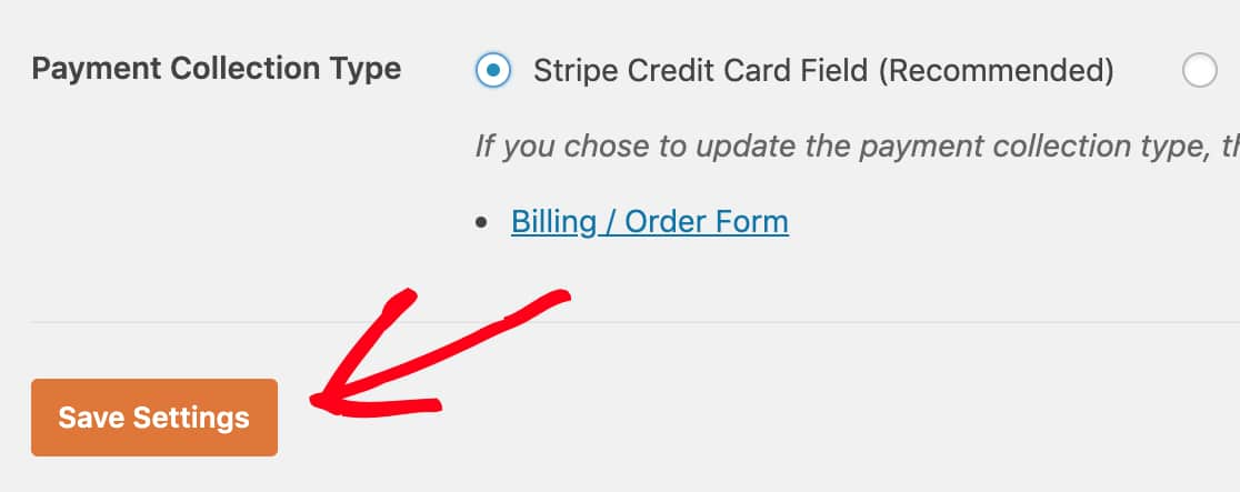 Save your form payment settings