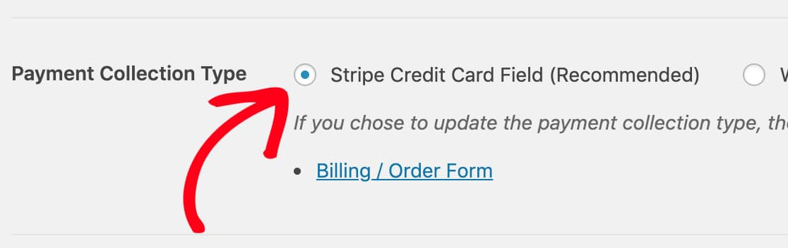 Select Stripe Credit Card Field option