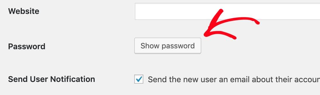 Show a WordPress user password