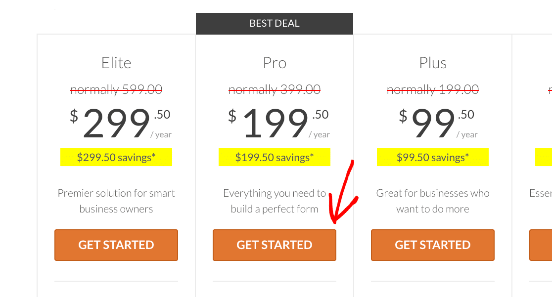 Selecting a license option from the WPForms Pricing page