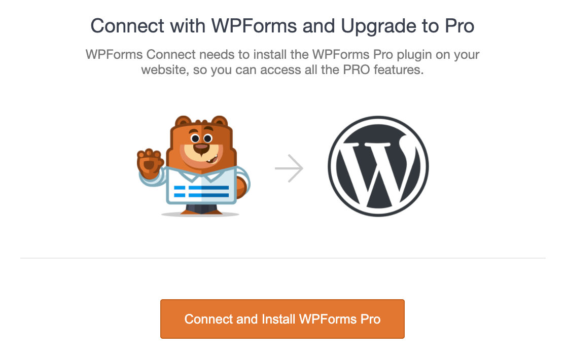 Connect and install WPForms