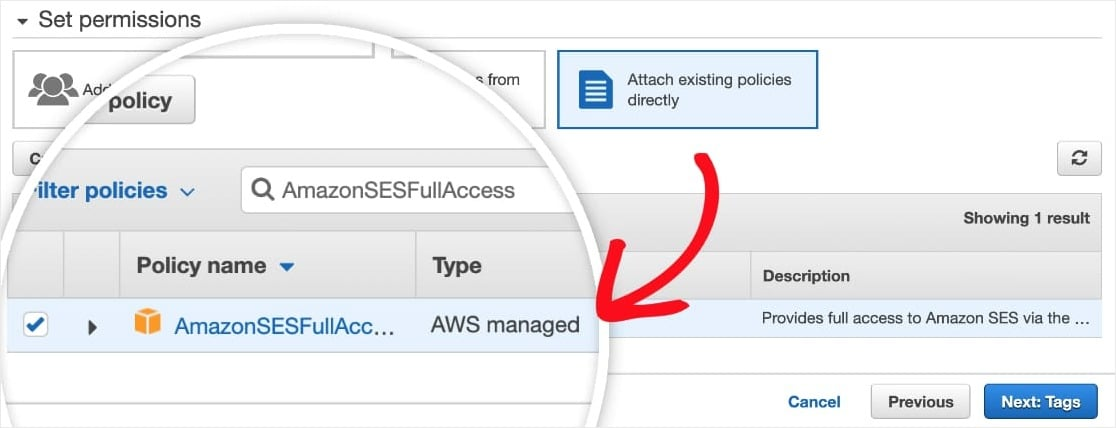 credentials with amazon ses email client
