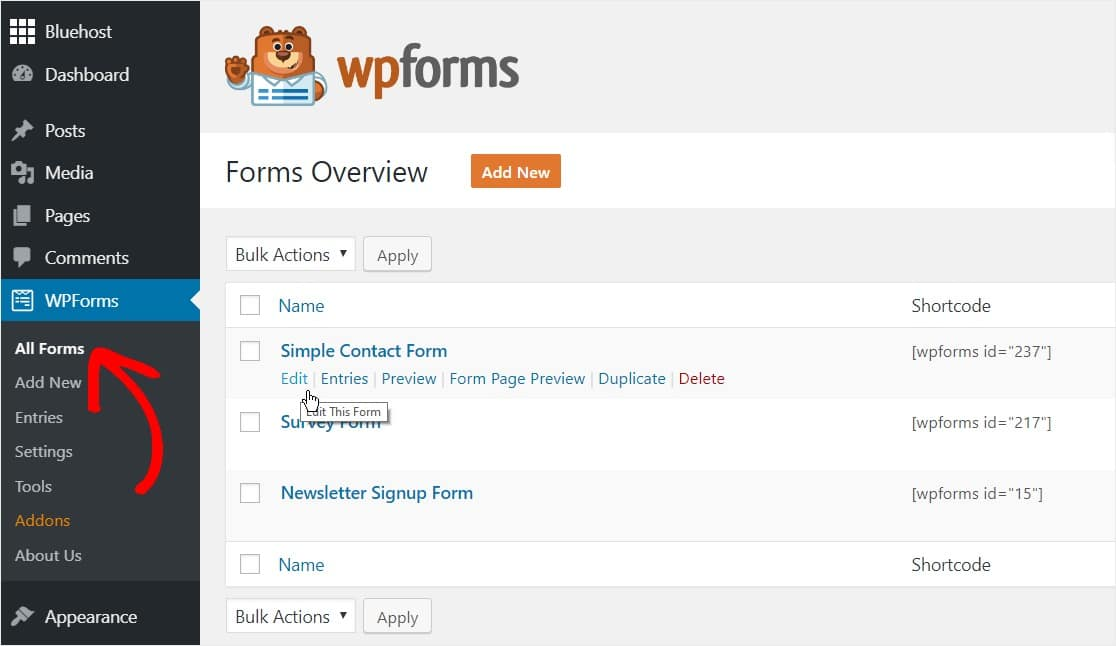 edit your simple contact form