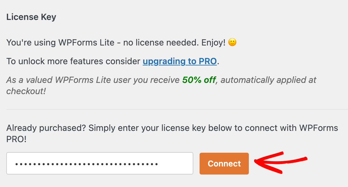 Entering a license key for WPForms and connecting it
