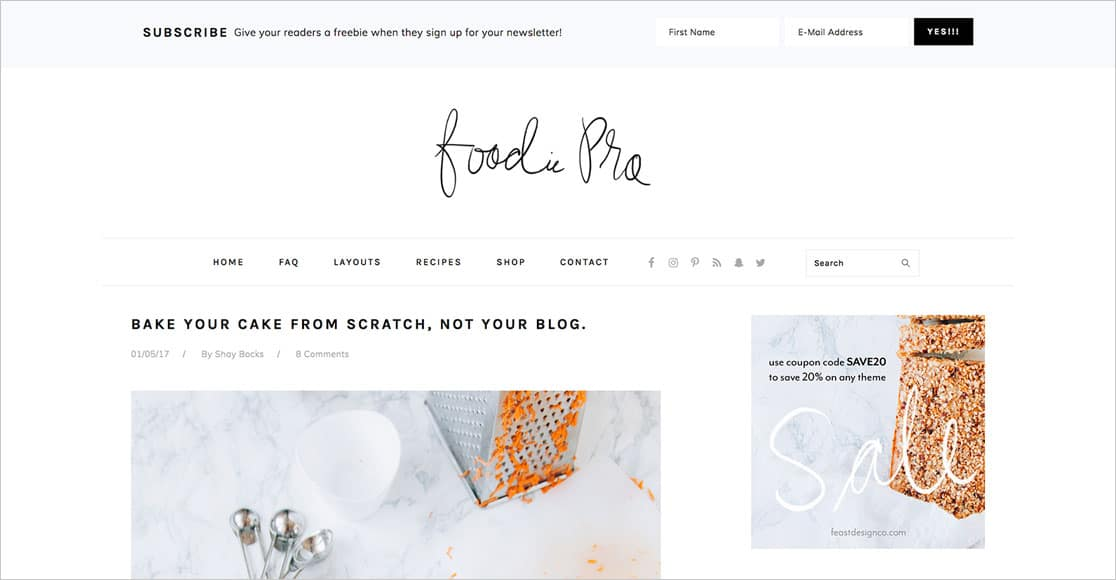 Foodie Pro Total one of the best responsive wordpress themes around